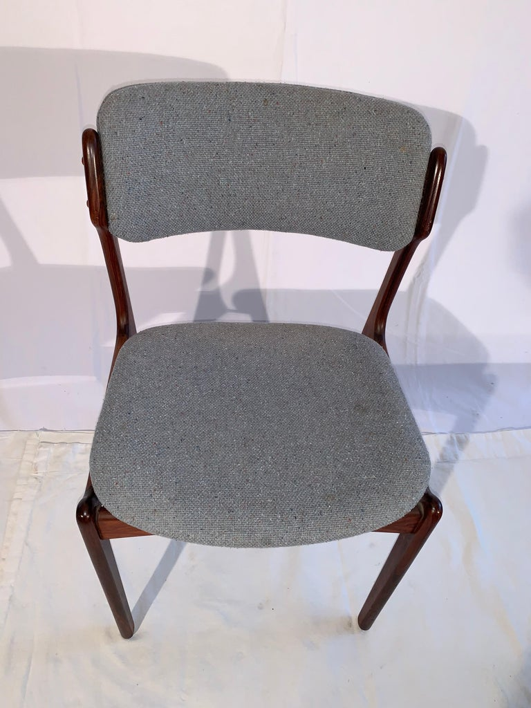 Hand-Crafted Set of 8 Erik Buch Rosewood Dining Chairs Denmark For Sale