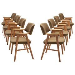 Set of 8 Erik Kirkegaard Armchairs in Oak, Denmark