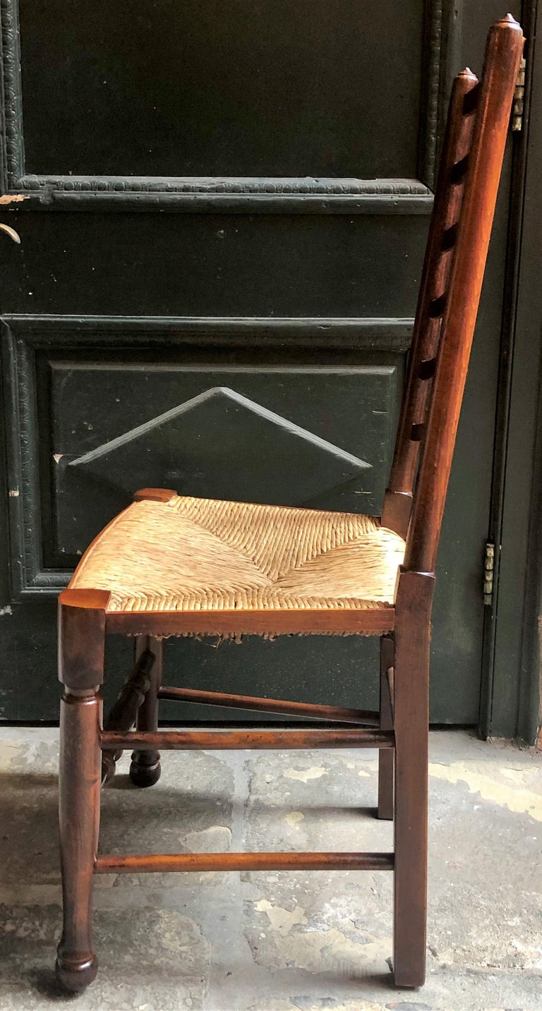 Set of 8 Estate English Ladder Back Chairs with Rush Seats, circa 1940 In Good Condition For Sale In New Orleans, LA