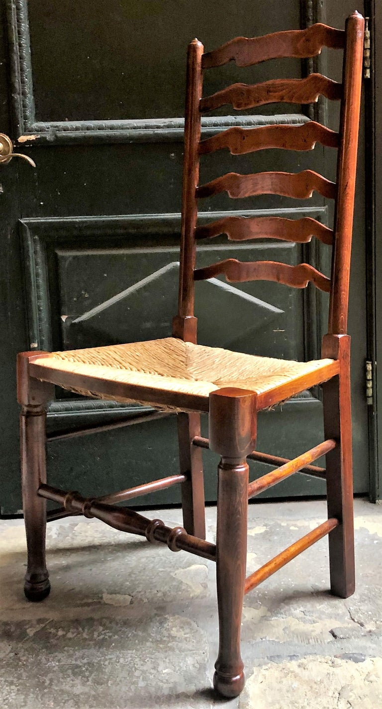 Set Of 8 Estate English Ladder Back Chairs With Rush Seats Circa 1940 For Sale At 1stdibs