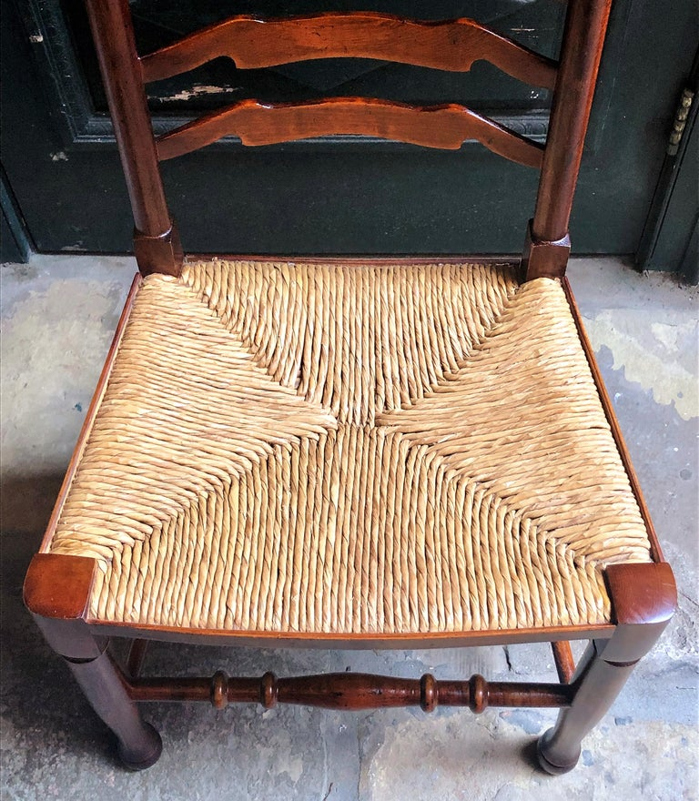 Set of 8 Estate English Ladder Back Chairs with Rush Seats, circa 1940 For Sale 1