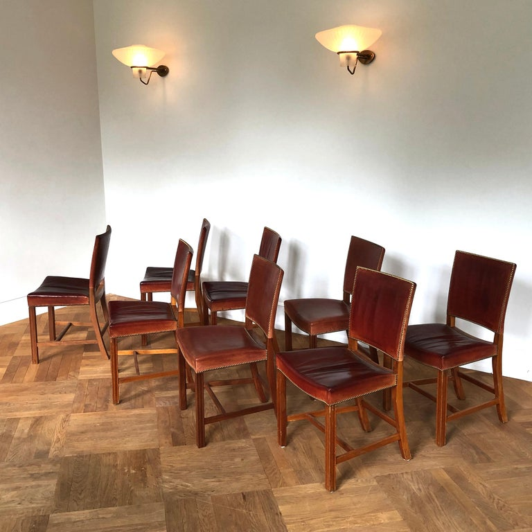 Mid-Century Modern Set of 8 Exceptional Kaare Klint Red Chairs in Original Niger Leather For Sale