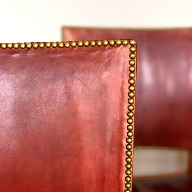 Danish Set of 8 Exceptional Kaare Klint Red Chairs in Original Niger Leather For Sale