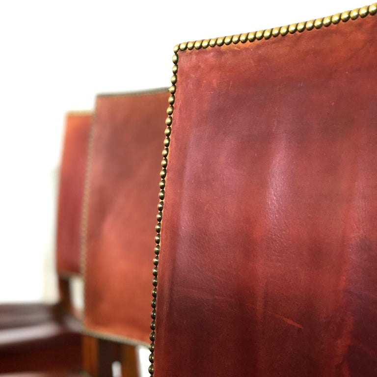 Set of 8 Exceptional Kaare Klint Red Chairs in Original Niger Leather In Good Condition For Sale In Copenhagen, DK