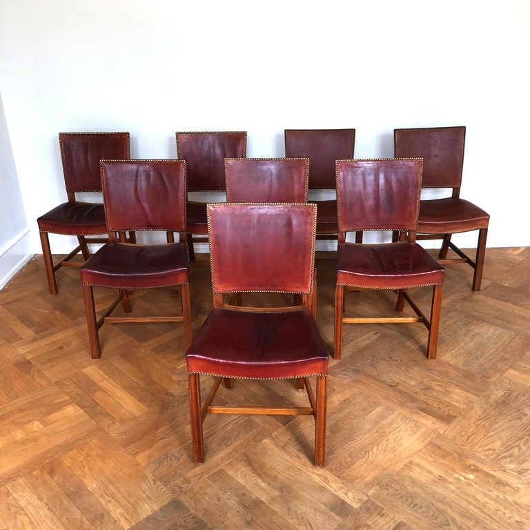 20th Century Set of 8 Exceptional Kaare Klint Red Chairs in Original Niger Leather For Sale