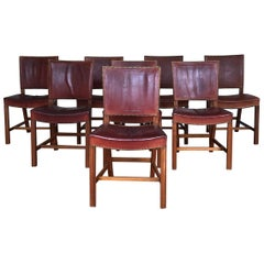 Set of 8 Exceptional Kaare Klint Red Chairs in Original Niger Leather