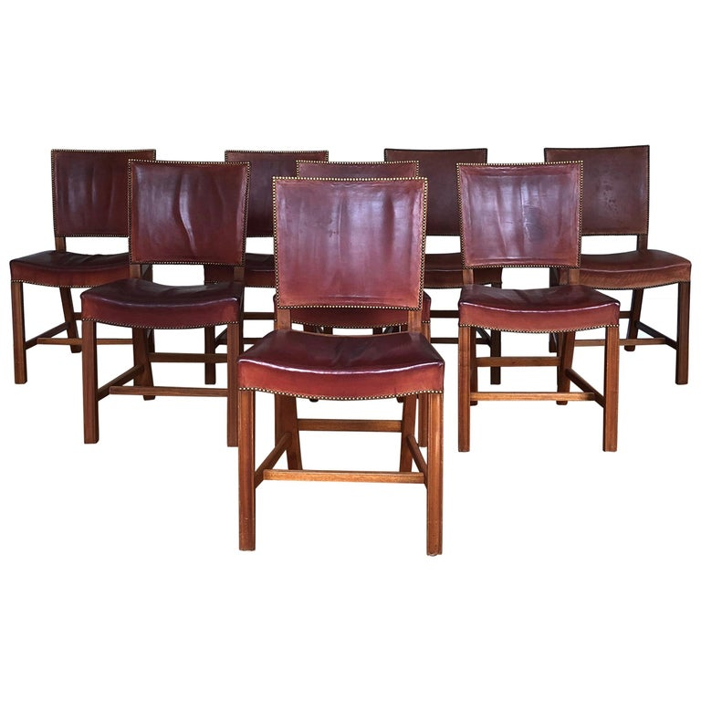 Set of 8 Exceptional Kaare Klint Red Chairs in Original Niger Leather For Sale