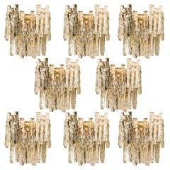 Set of 8 Extra Large Kalmar Ice Glass Brass Wall Sconces by J.T. Kalmar, Austria