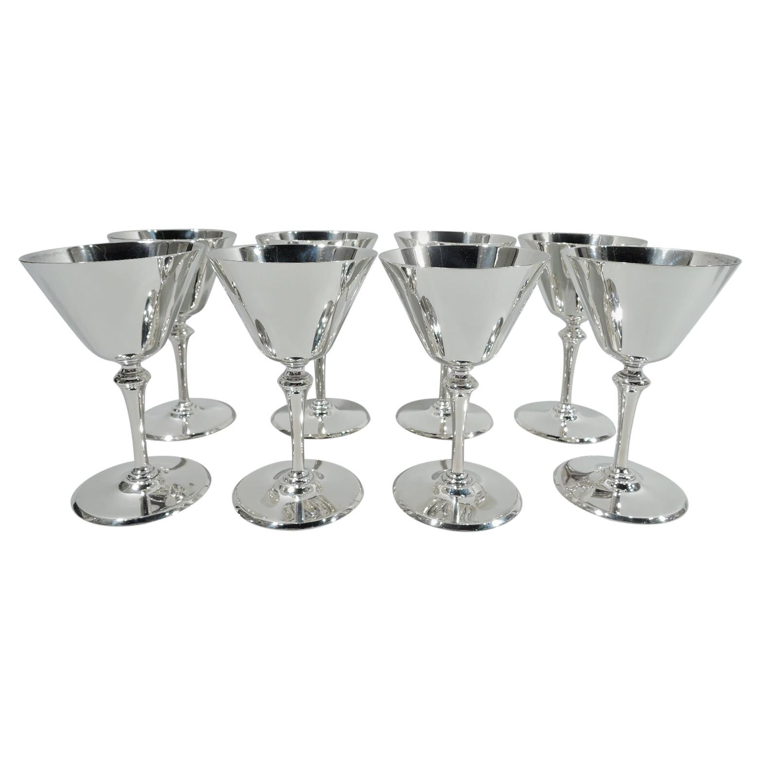 Set of 8 Fabulous Tiffany Art Deco Sterling Silver Cocktail Cups