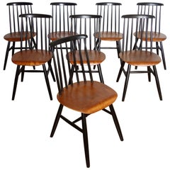 Set of 8 Fanett Chairs Ilmari Tapiovaara for Edsby Verken, 1950s