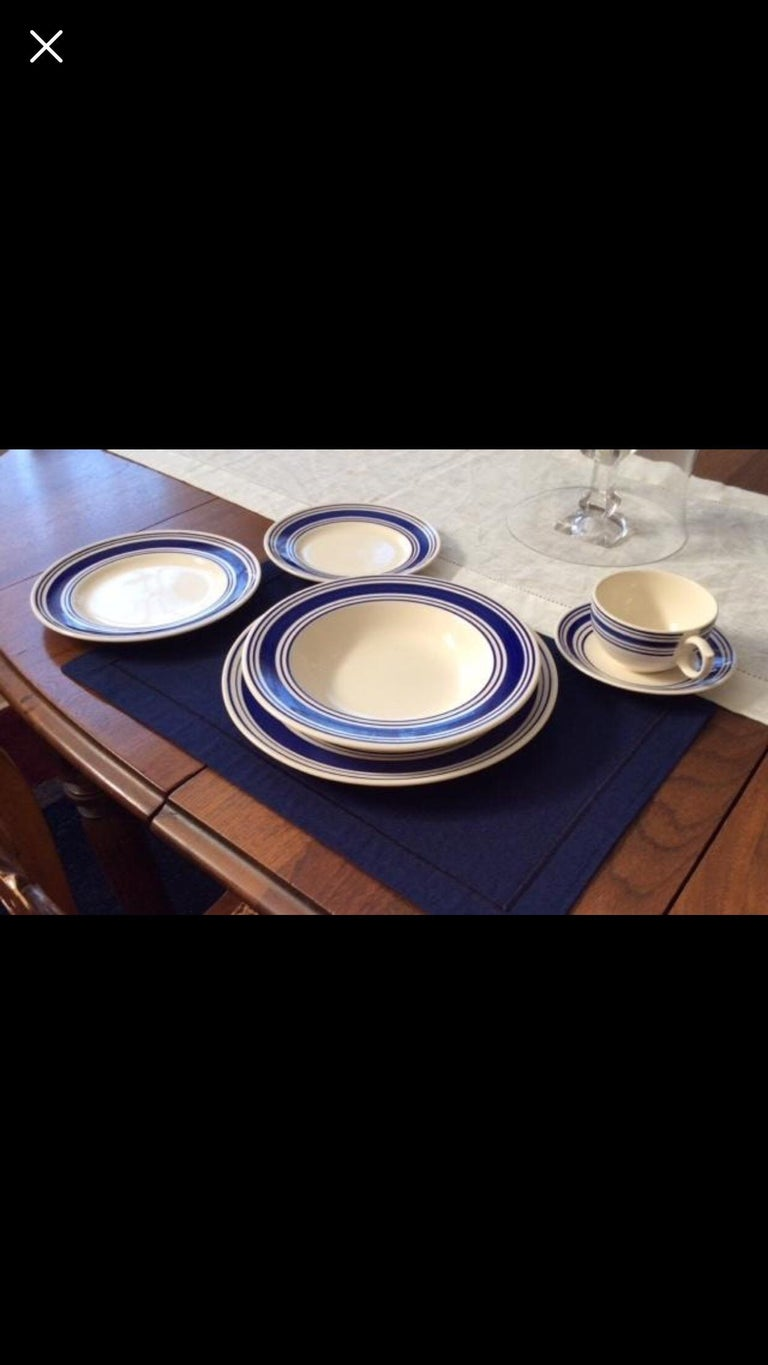 Country Set of 8 Farmstead Ticking Blue Place Settings by Ralph Lauren Home For Sale