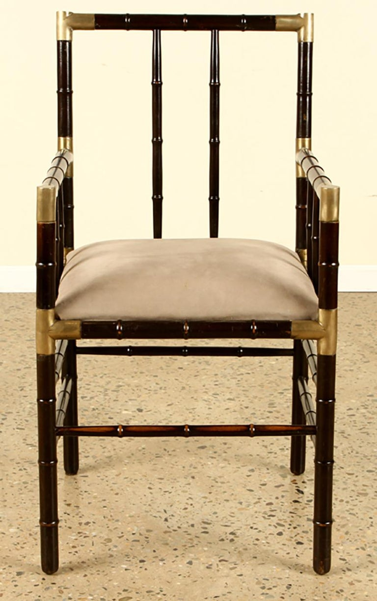 American Set of 8 Faux-Bamboo and Brass Dining Chairs in the Billy Haines Manner For Sale