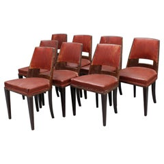 Set of 8 Fine French Art Deco Dining Chairs by DIM