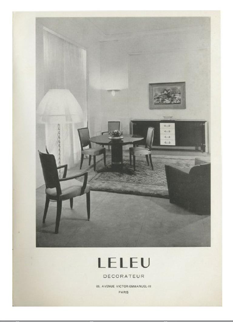 Set of 8 Fine French Art Deco Dining Chairs by Jules Leleu For Sale 14
