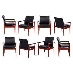 Set of 8 Finn Juhl Rosewood Diplomat Armchairs