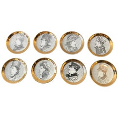 Set of 8 Fornasetti 1950s Double Face Coasters