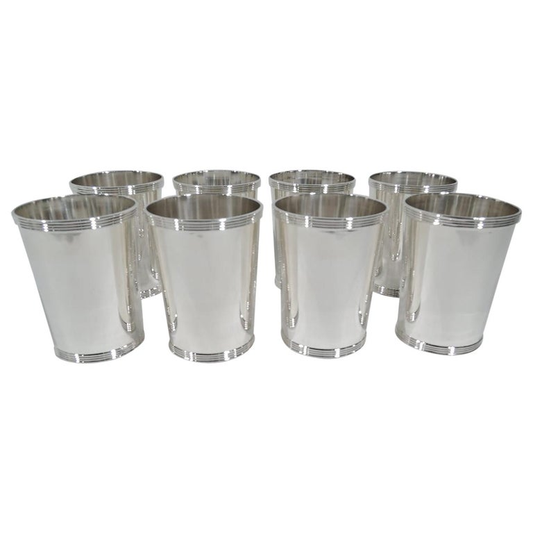 Set of 8 Frank Whiting Old Kentucky Sterling Silver Mint Juleps For Sale