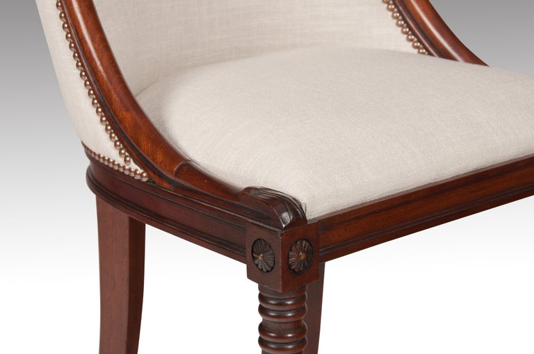 Set of 8 French 19th Century Empire Style Barrel Back Dining Chairs For Sale 5