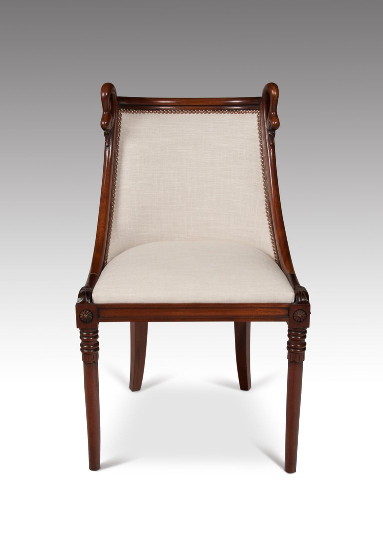 Set of 8 French 19th Century Empire Style Barrel Back Dining Chairs For Sale 6