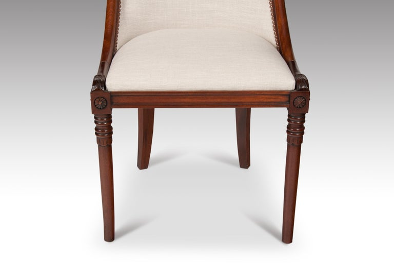 Set of 8 French 19th Century Empire Style Barrel Back Dining Chairs For Sale 8