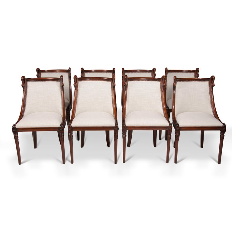 Set of 8 French 19th Century Empire Style Barrel Back Dining Chairs In Good Condition For Sale In Benington, Herts