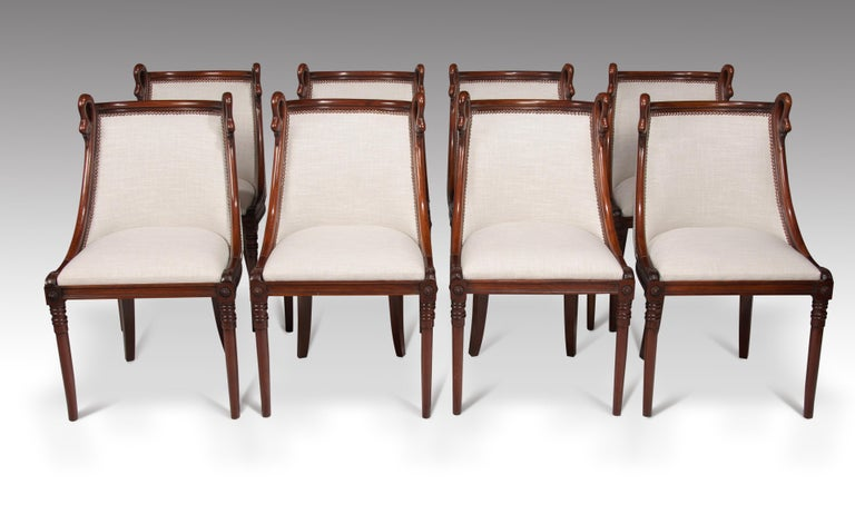 Linen Set of 8 French 19th Century Empire Style Barrel Back Dining Chairs For Sale