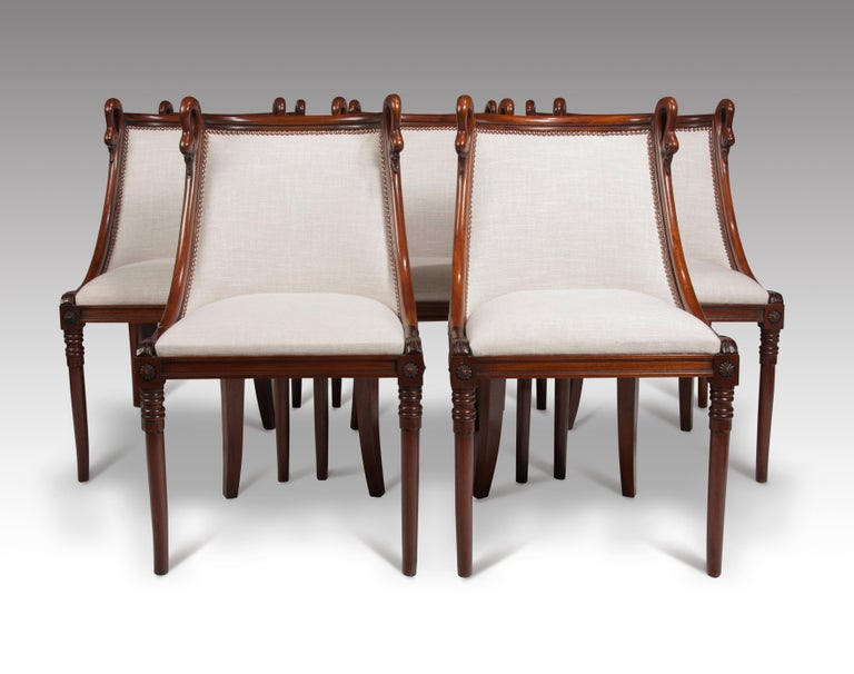 Set of 8 French 19th Century Empire Style Barrel Back Dining Chairs For Sale 1