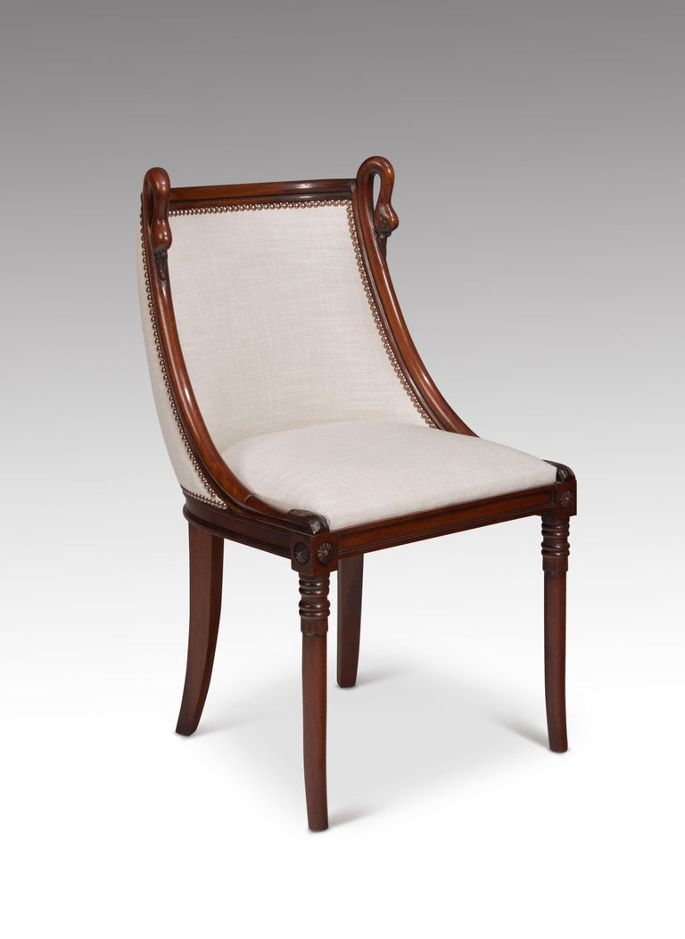 Set of 8 French 19th Century Empire Style Barrel Back Dining Chairs For Sale 2