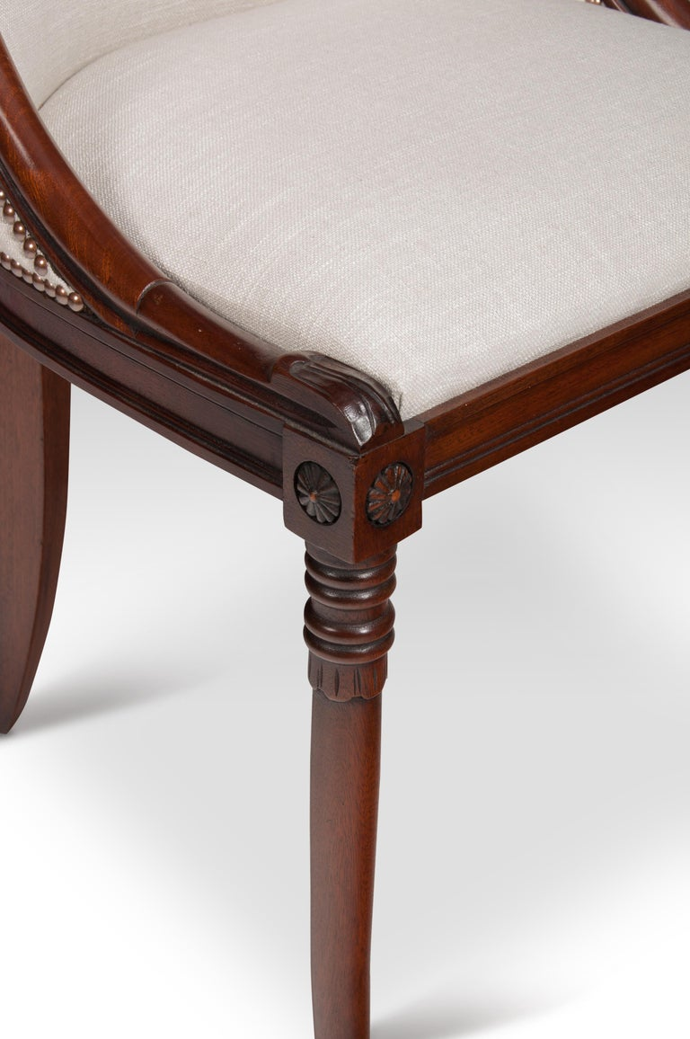 Set of 8 French 19th Century Empire Style Barrel Back Dining Chairs For Sale 3