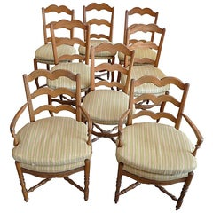 Set of 8 French 19th Century Ladder-Back Chairs 2 Armchairs and 6 Side-Chairs