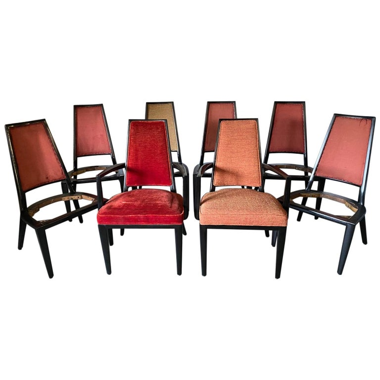 Set of 8 French Art Deco Dining Chairs For Sale