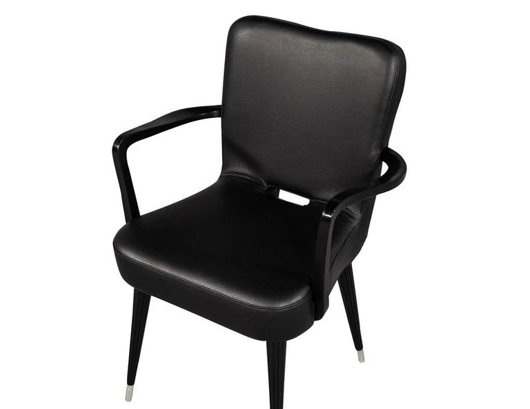 Set of 8 French Art Deco Dining Chairs in Black Leather For Sale 11