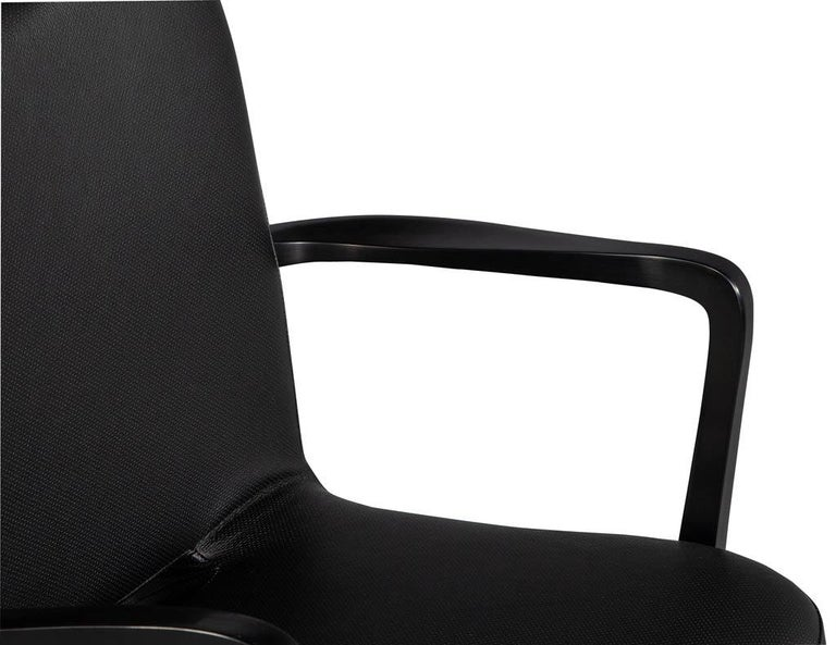 Set of 8 French Art Deco Dining Chairs in Black Leather For Sale 12