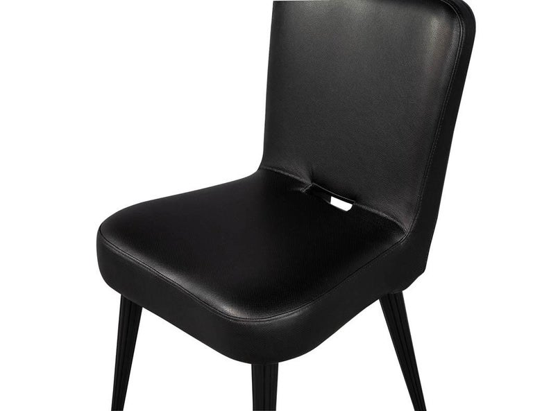 Set of 8 French Art Deco Dining Chairs in Black Leather For Sale 13