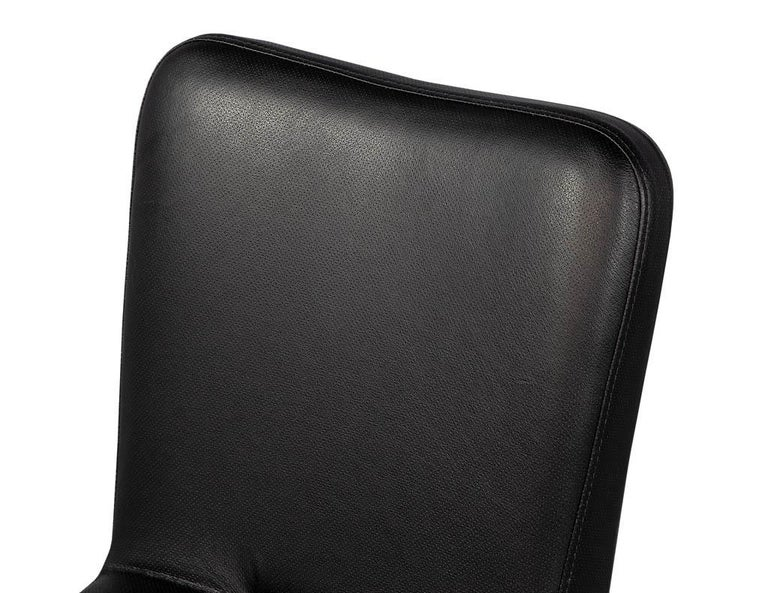 Set of 8 French Art Deco Dining Chairs in Black Leather For Sale 15
