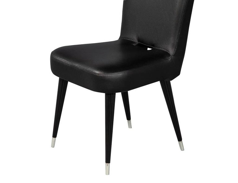 Set of 8 French Art Deco Dining Chairs in Black Leather For Sale 16
