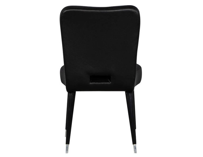 Set of 8 French Art Deco Dining Chairs in Black Leather For Sale 2