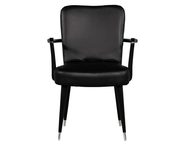 Set of 8 French Art Deco Dining Chairs in Black Leather For Sale 3