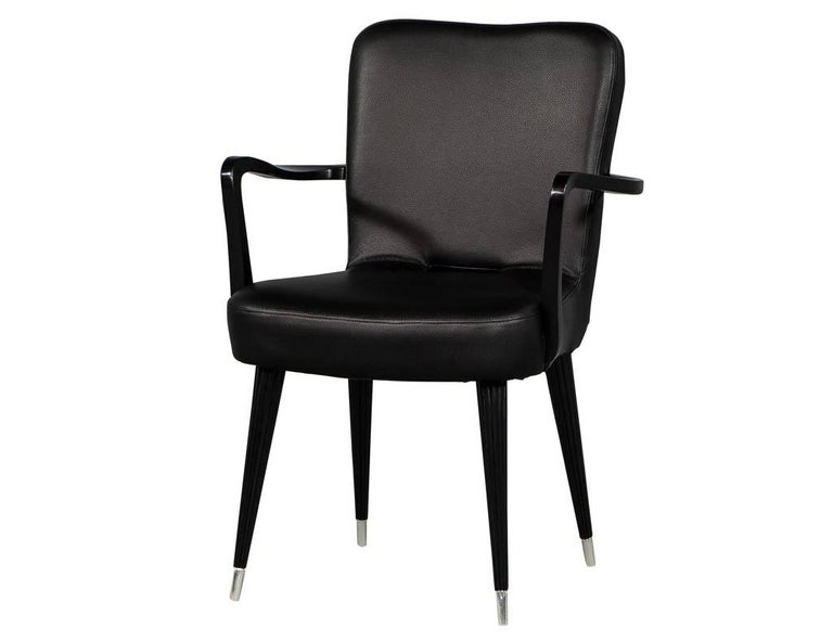 Set of 8 French Art Deco Dining Chairs in Black Leather For Sale 4