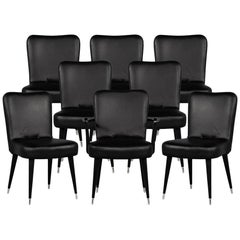 Set of 8 French Art Deco Dining Chairs in Black Leather