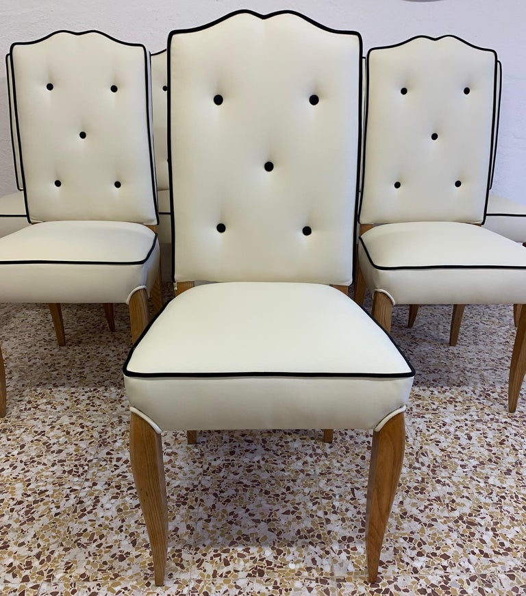 Set of 8 French Art Deco Durmast Dining Chairs, 1930s In Good Condition For Sale In Meda, MB