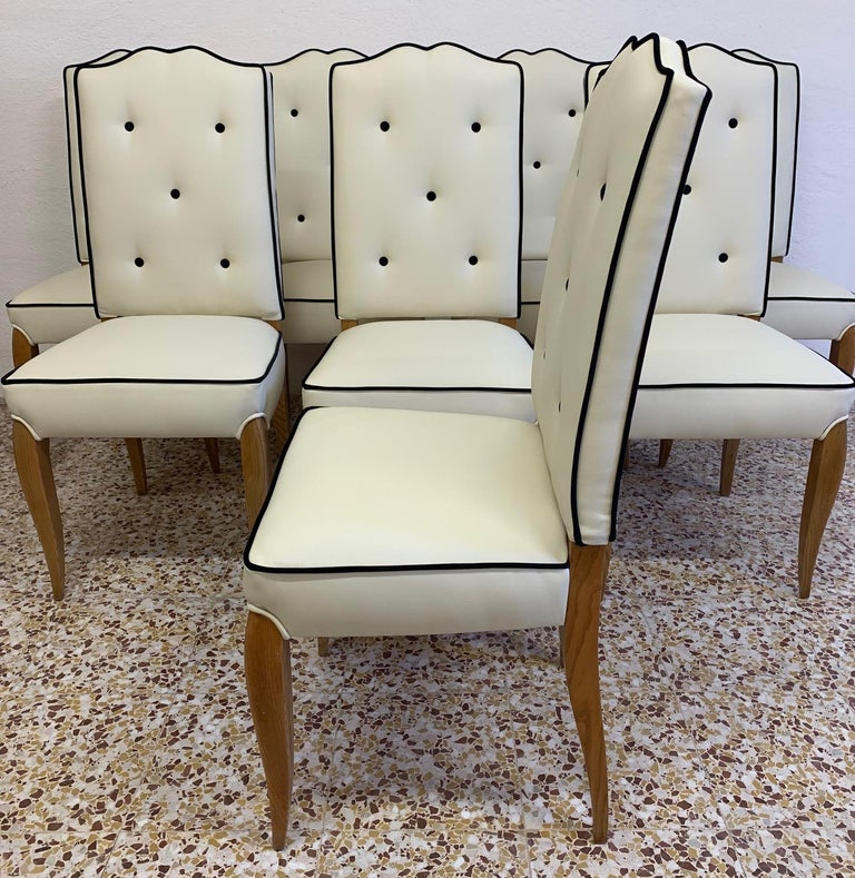 Mid-20th Century Set of 8 French Art Deco Durmast Dining Chairs, 1930s For Sale