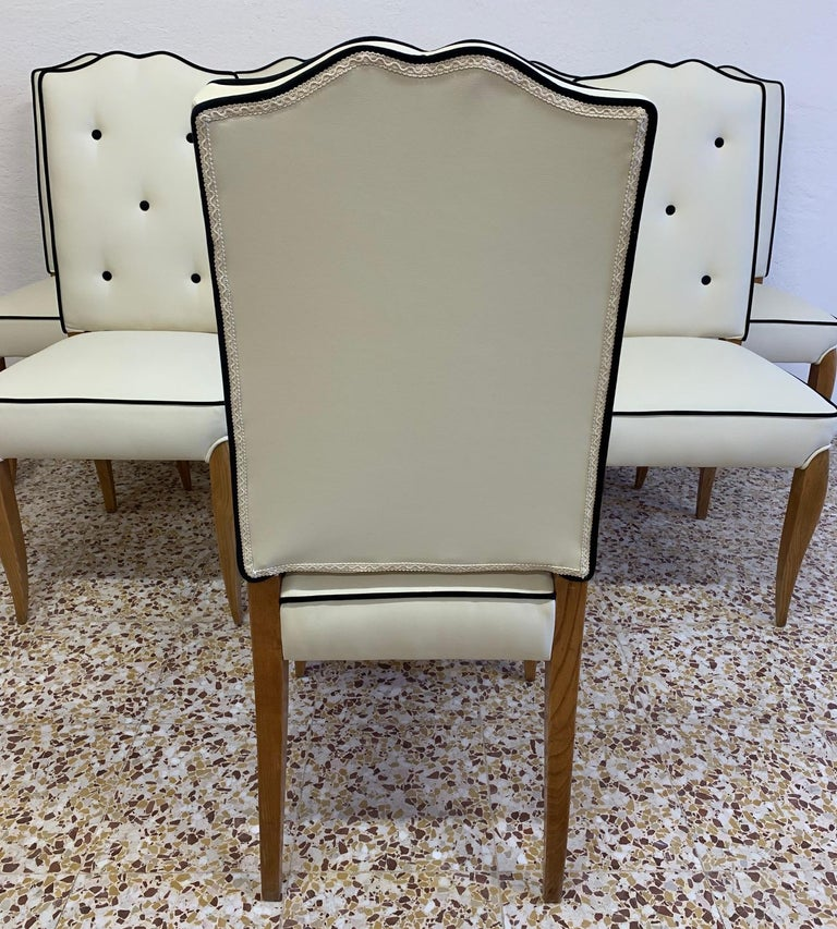Oak Set of 8 French Art Deco Durmast Dining Chairs, 1930s For Sale