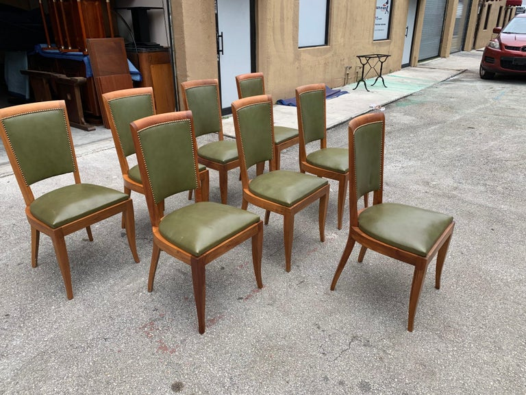 Set of 8 French Art Deco Solid Mahogany Dining Chairs, 1940s For Sale 6
