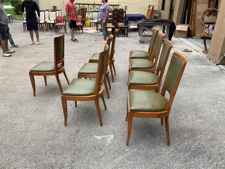 Set of 8 French Art Deco Solid Mahogany Dining Chairs, 1940s For Sale 7
