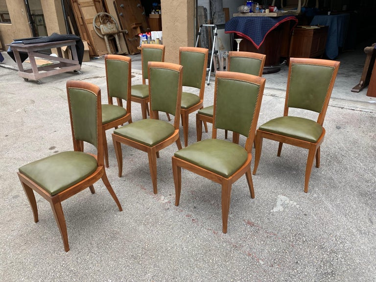 Set of 8 French Art Deco Solid Mahogany Dining Chairs, 1940s For Sale 8