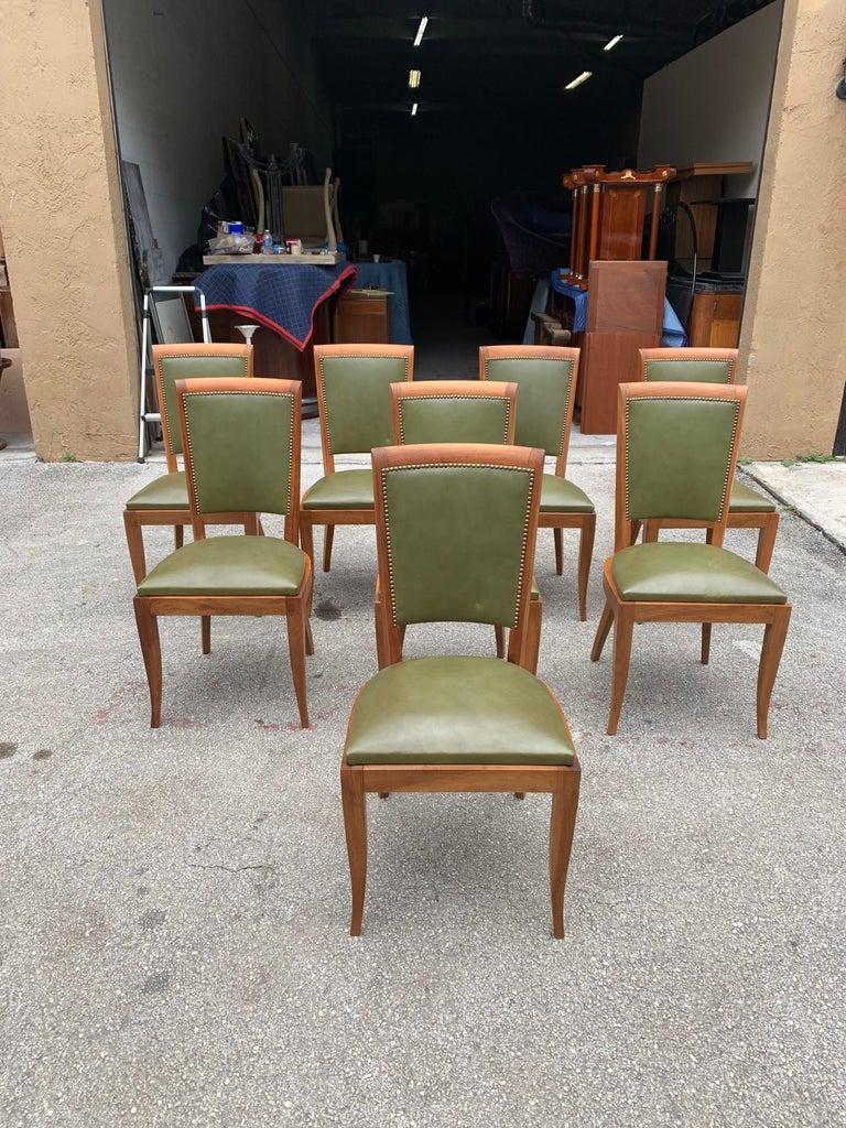 Set of 8 French Art Deco Solid Mahogany Dining Chairs, 1940s For Sale 9