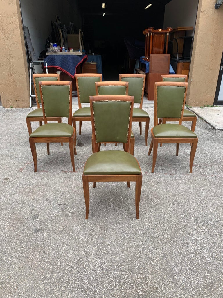 Set of 8 French Art Deco Solid Mahogany Dining Chairs, 1940s In Good Condition For Sale In Hialeah, FL