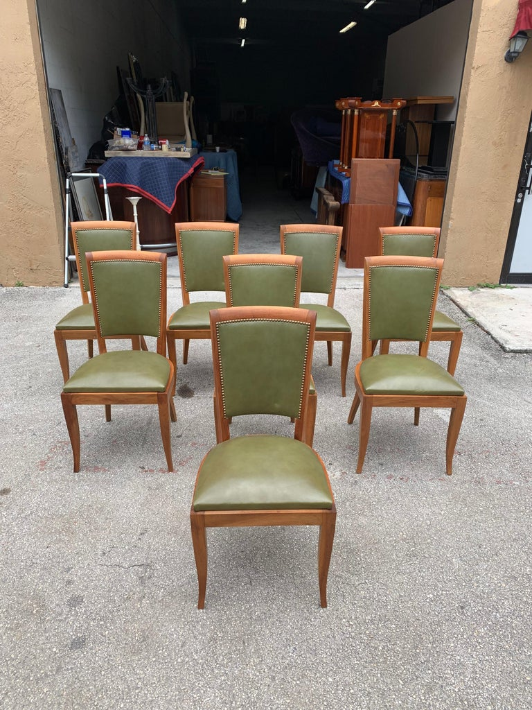 Leather Set of 8 French Art Deco Solid Mahogany Dining Chairs, 1940s For Sale