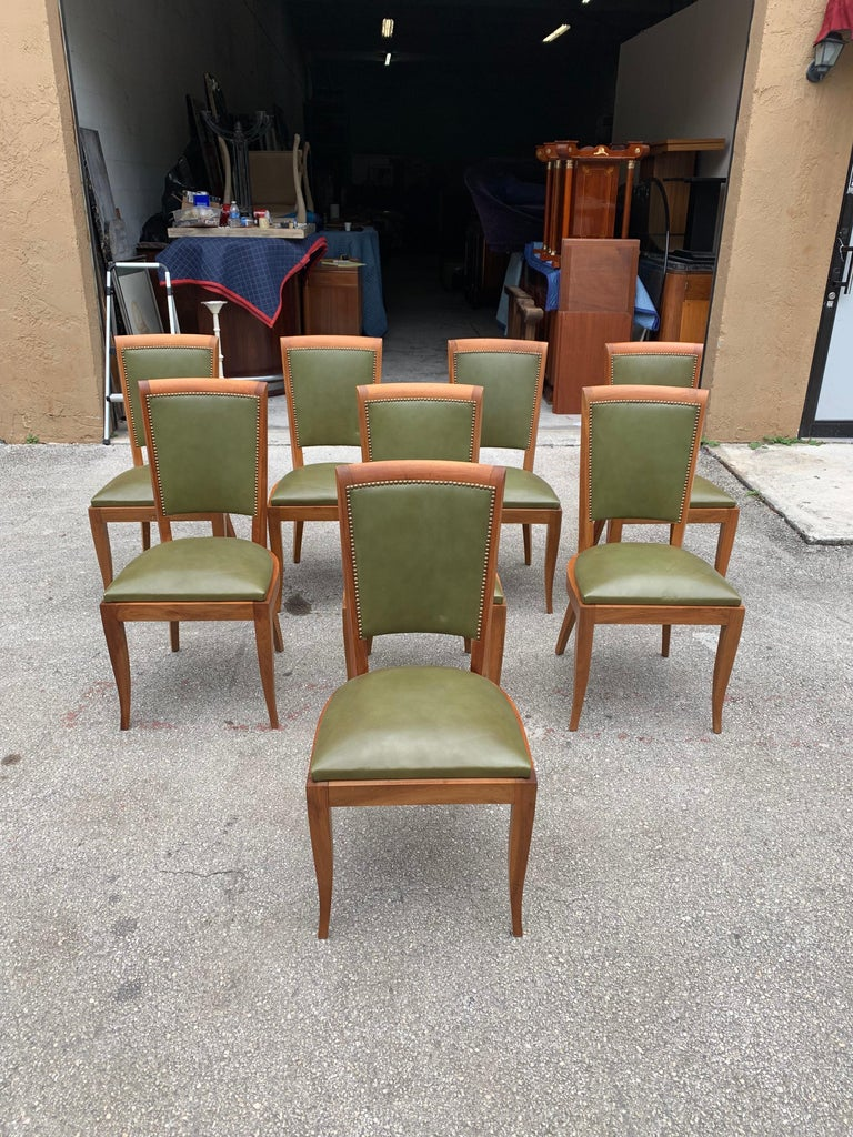 Set of 8 French Art Deco Solid Mahogany Dining Chairs, 1940s For Sale 1